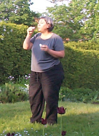 My mom blowing bubbles.
